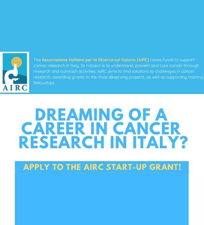 AIRC APRE IL BANDO PER IL GRANT START-UP
